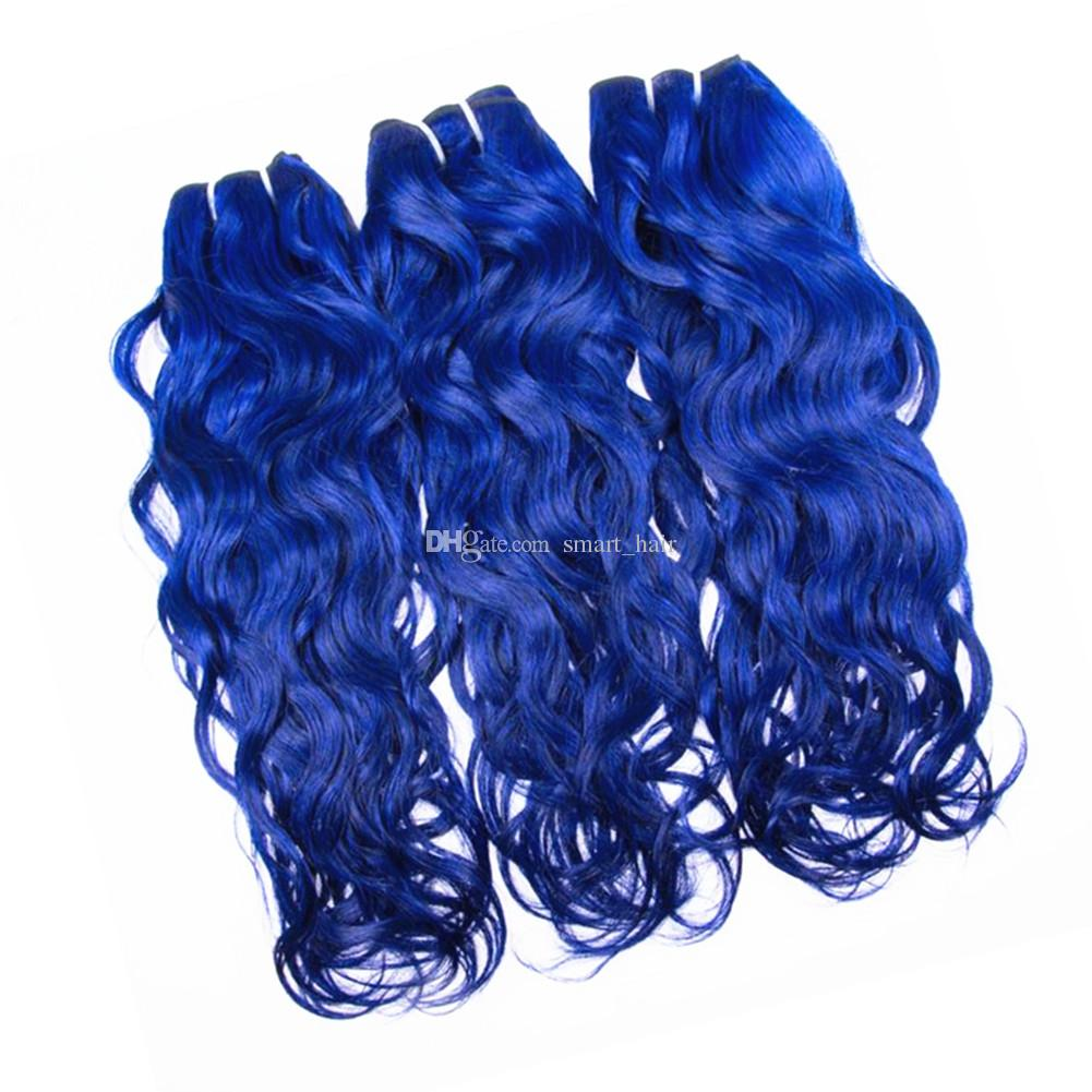Blue Color Water Wave Human Hair Weaves With Lace Closure Pure Colored Brazilian Malaysian Virgin Hair Weft With Free Part Closure 4x4