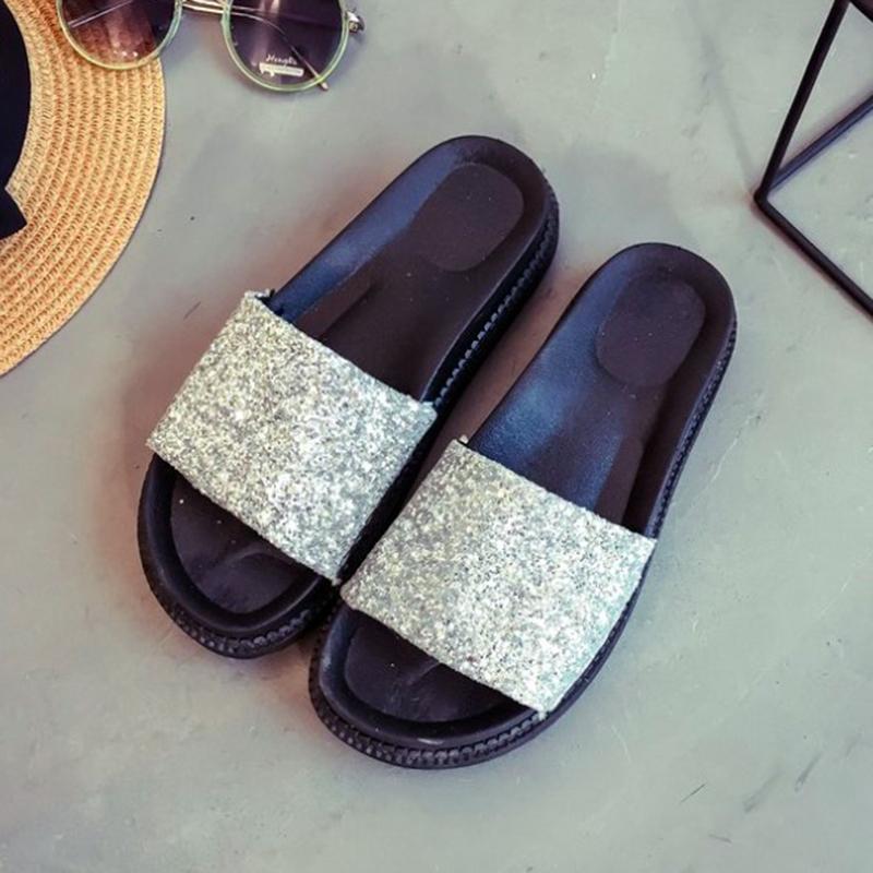 WAWFROK Women Slippers Summer 2018 Platform Sandals Bling Beach Slides  Comfortable Flat Shoes Chaussure Femme Womens Cowboy Boots Slippers For  Women From ... 2b5ba1673213