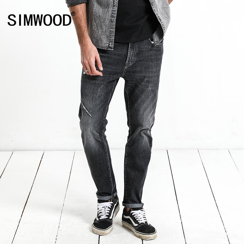 870ed41542 Compre 20187 Simwood Marca 2018 Hombres Jeans Nueva Moda Casual Jeans  Hombres Slim Jeans Agujero Tallas Grandes Pantalones Largos Venta Caliente  De Alta ...