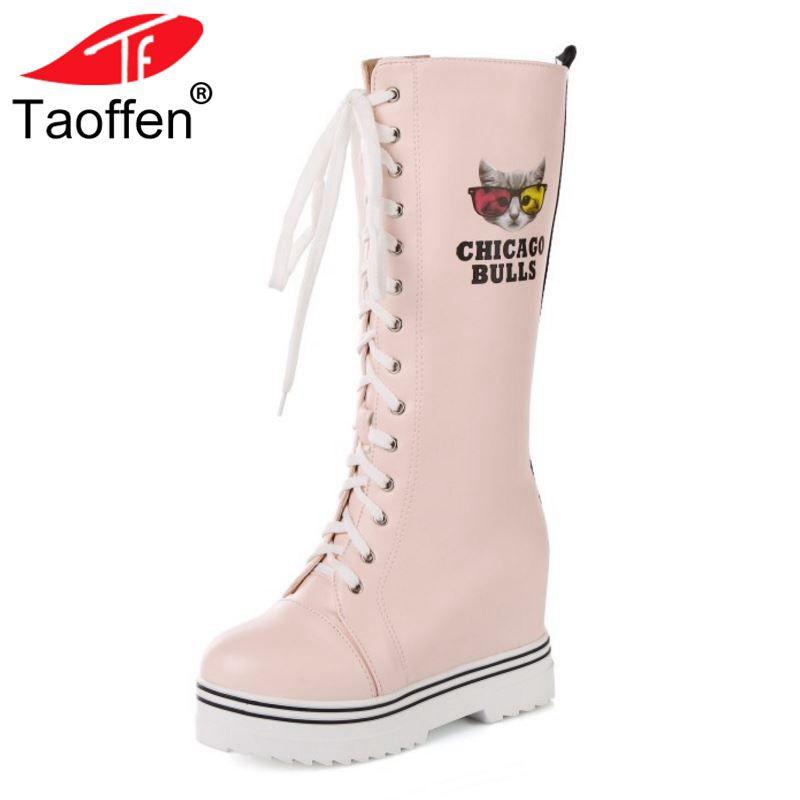 Taoffen 43 Sexiga Footwear Tjock Hidden Mode Heels Från Mid Stövlar Vinter  Kvinnor Storlek Snö Platform Tecknad Skor ... 2cf11ba7c9a71