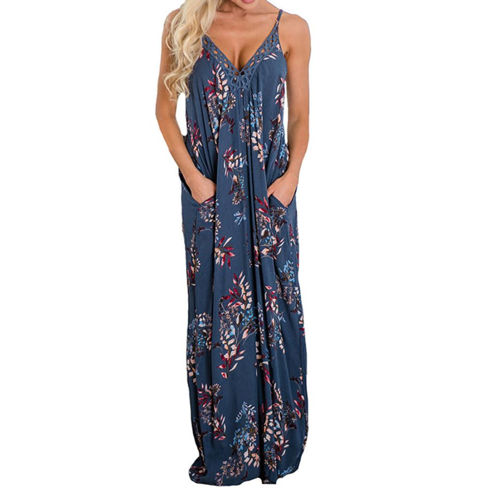 73d86c5e94 Fashion Sexy Women's Spaghetti Strap Floral Print Deep V Neck dress With  Pocket Bohemian style ladies girls Maxi Long Dresses