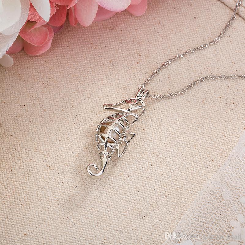 2018 Gabbie Nuova ostrica perla pendente Unicorn Locket scavano fuori collana amore perla di desiderio di pesce Cuore Mermaid parte superiore del cranio gioielli fai da te