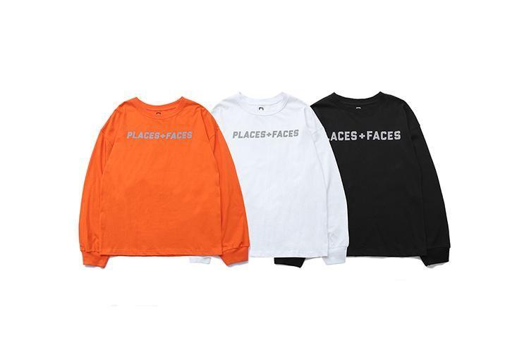 2018 Best Quality PLACES+FACES 3M Reflection Logo Printed Women Men Long Sleeve T shirts tees Hiphop Streetwear Men T shirt
