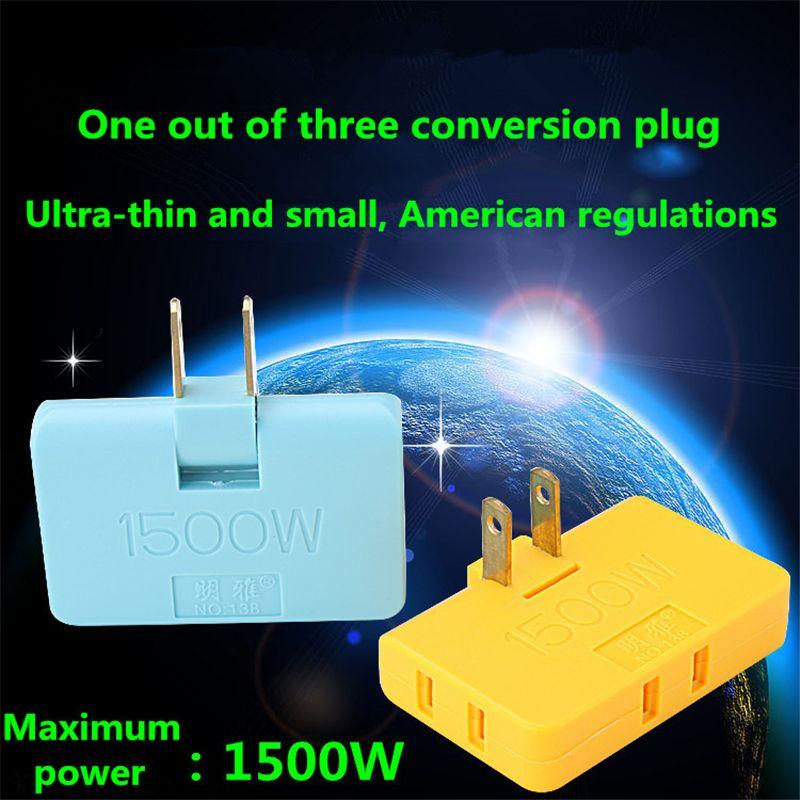 US plug 180 degree swivel socket one turn three plug conversion socket  ultra thin wireless conversion plug power converter