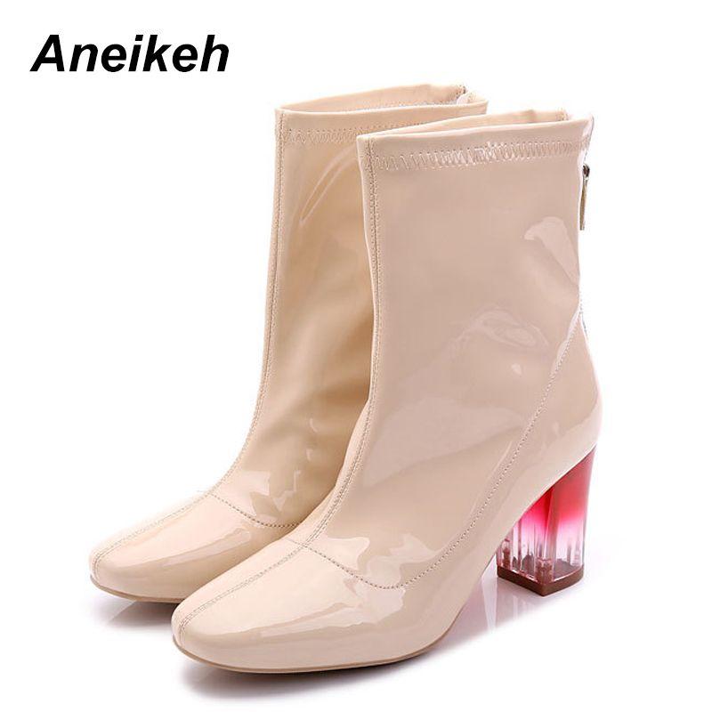 a0cb532d Compre Aneikeh Fashion 2018 Mujeres Chelsea Boot Charol Botas De Tacón  Grueso Transparente Cómodo Lady Round Toe Square Heel Shoes A $40.75 Del  Drdre ...