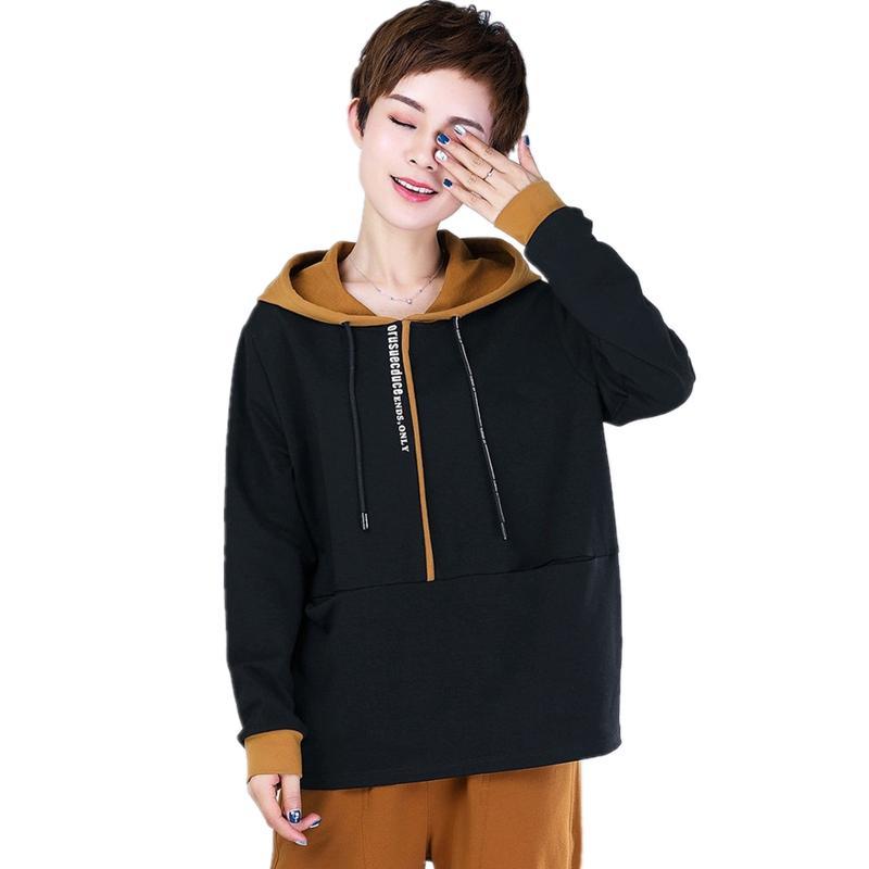11ea76839 2019 2018 Autumn Women Pullovers Top Hoodies Sweatshirt Plus Size Fashion Hidden  Pocket Tops Woman Print Letter Long Sleeve Outerwear From Fenghuangmu, ...