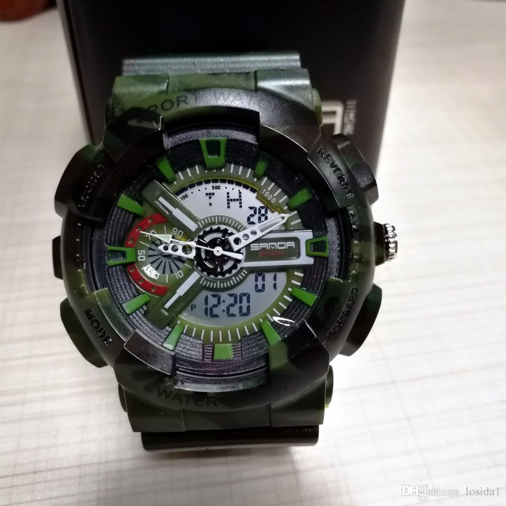 2019 männer meistverkauften analog digital led sportuhren klettern military armee g stil schock uhren camouflage malerei uhr reloj hombre