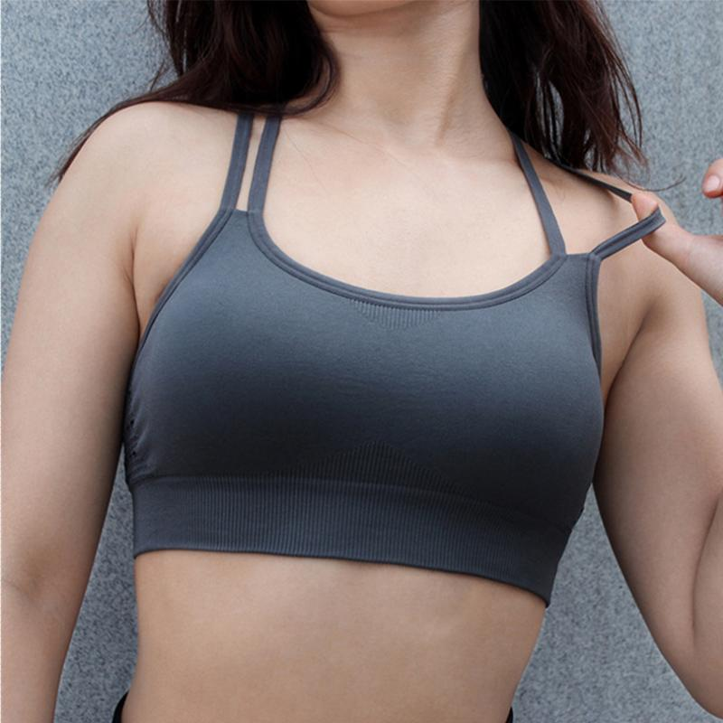3376f4102c622 BINAND Women Solid Sling Wire Free Sports Bra Workout Breathable Sexy  Bandage Quick Dry Halter High Elastic Push Up Yoga Bras UK 2019 From  Huanbaoxin