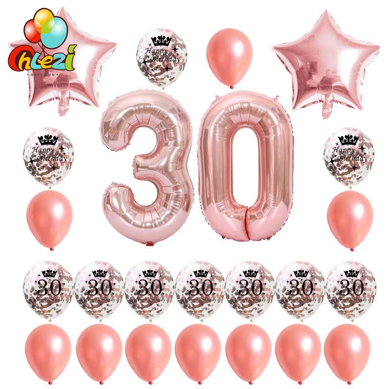 Rose Gold Birthday Balloons 18 21 30 40 50 60th Silver Confetti Ball 40inch Number Ballon Party Decoration Supplies Largest Balloon Helium