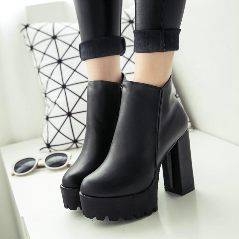 1cd38d0f0a0 Compre Botas De Invierno Para Mujer Plataforma Negra Con Cordones Y Zapatos  De Tacón Alto Gruesos Zapatos Punky Botines Botines Envío Gratis A $39.12  Del ...