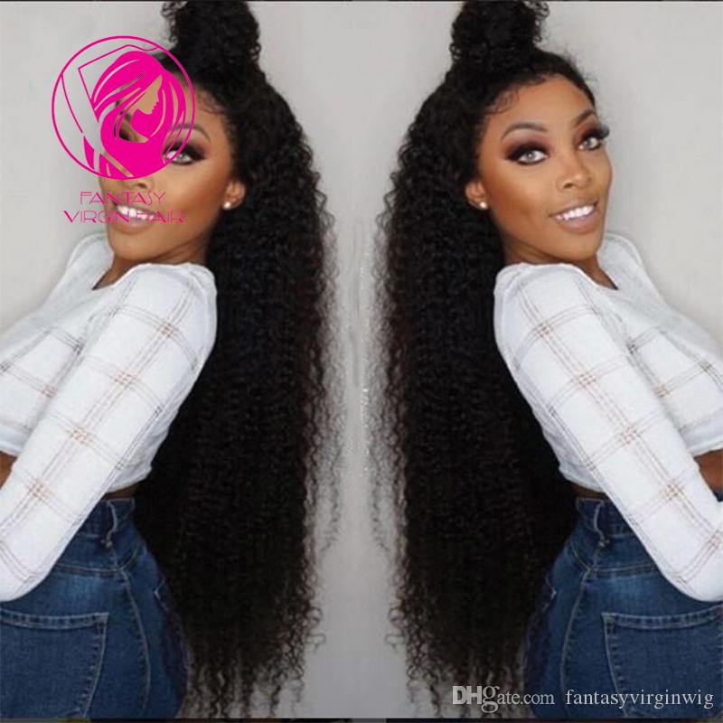 "Fantasy Super Long Kinky Curly Lace Front Human Hair Wigs Brazilian Remy Hair Glueless Wig With Baby Hair 24"" 26"" 28""inch"
