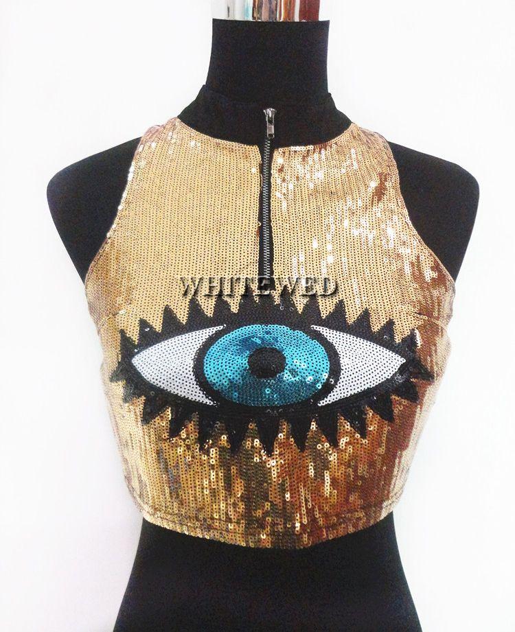 Cute Sequin High Neck Zipper Adult Eye Print Fashion Trend Danced Crop Tank Top Jacket T Shirt Vest Clothing Apparel for women