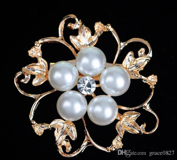 Broches de la boda Mix 8 Style Silver Pearl Crystal Rhinestone Flower Bouquet Butterfly Broche de la vendimia Pins Mejor regalo