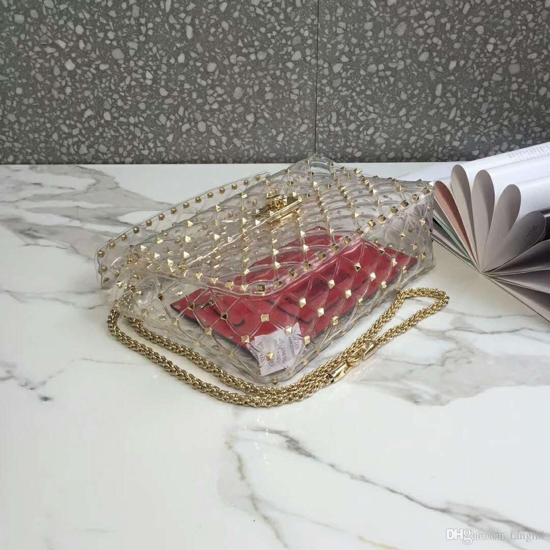 2018 new model transparent PVZ material leather real high fashion handbag diamond lattice metallic rivet cross body clear full starts 24cm