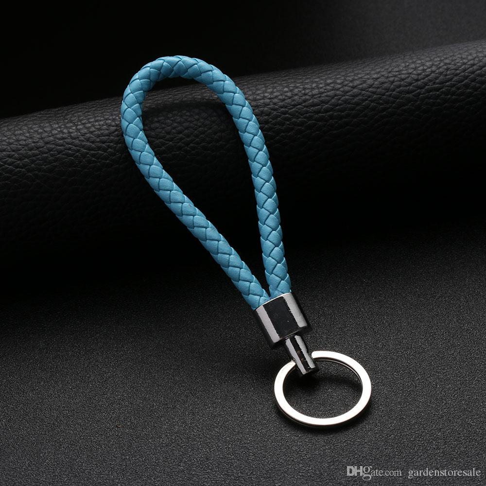 3 adet / grup Yeni Varış Unisex Örgülü Deri Halat El Yapımı Waven Anahtarlık Anahtarlık Araba Anahtarlık