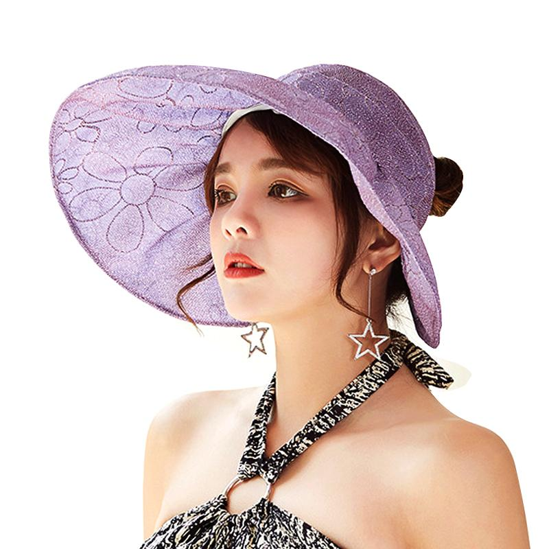 1049f6416f2 Summer Sun Hats For Women Wide Brim Sun Hat Female Sunscreen Beach Caps  Chapeu Outdoor Visors Anti UV Protection Caps Lady Topee Bucket Hats For  Women ...
