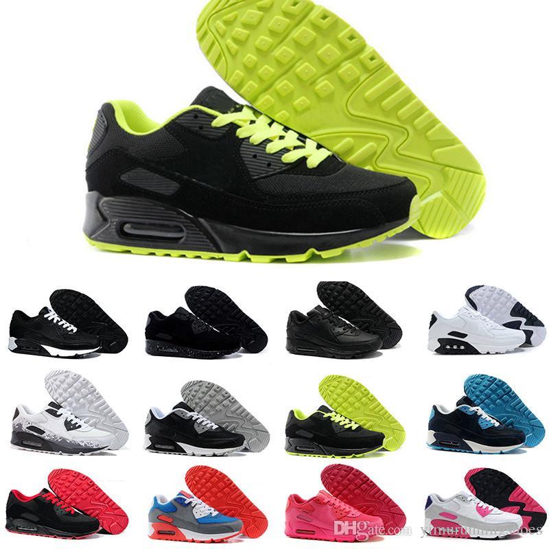hot sales 80306 c927a Acheter Hommes Sneakers Chaussures Classique 90 Hommes Et Femmes Chaussures  De Course Noir Rouge Blanc Sport Formateur Coussin Surface Respirant  Chaussures ...