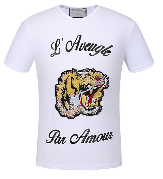 0fafbd13 2018 NEW T SHIRT Men woman Designer Clothing Print Luxury Brand Men's T- Shirts tiger embroidery Men's TEES Polos TEES M--3XL BOY T SHIRT