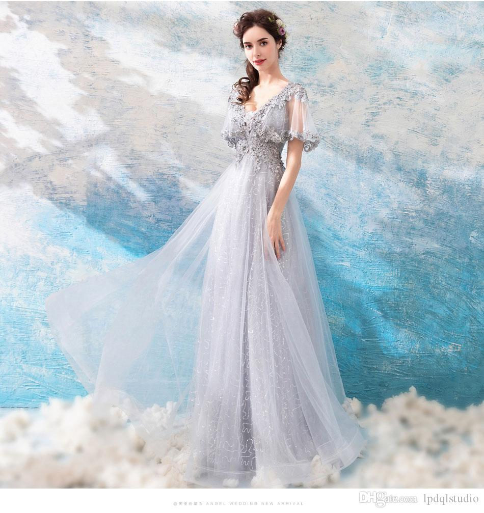 Sexy V-Neck Evening Dress Soft Tulle Long Prom Dresses Floral ... c9069dac88d6