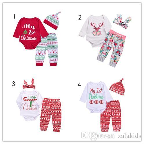 dabff3b431c8e 3 pcs Christmas baby boy girl suits Newborn Infant kids Girls Boys baby  Romper Flower Deer Snow Snowflake Leggings Pants Hat Headband Set