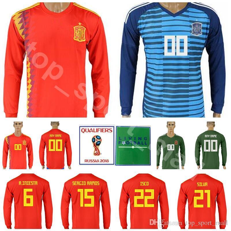Hombre España Camiseta De Manga Larga Soccer 2018 Copa Del Mundo 6 Iniesta  Camiseta De Fútbol Kits 15 Sergio Ramos 21 Silva 22 Isco 19 Diego Costa ... 92b7e8c8e3c94