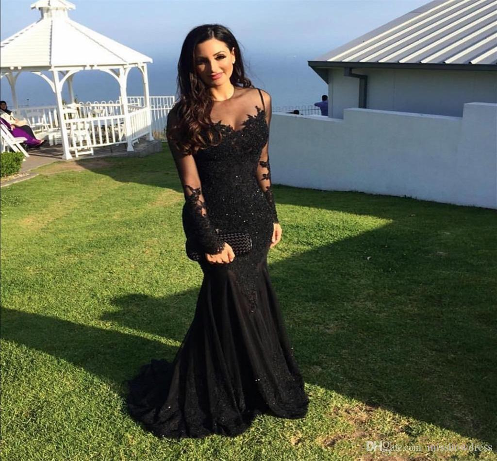 2018 Sexy Black Sheer Jewel Neck Mermaid Evening Dresses Illusion Lace Appliques Long Sleeves Crystal Beads Prom Party Dresses Plus Size