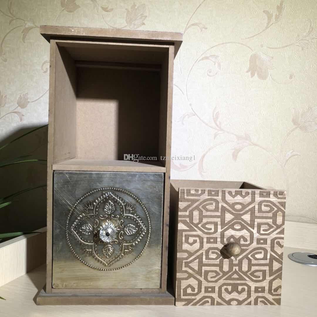 Dois-camada de madeira Retro gaveta tipo de armazenamento de jóias Armários de armazenamento de mesa de cabeceira