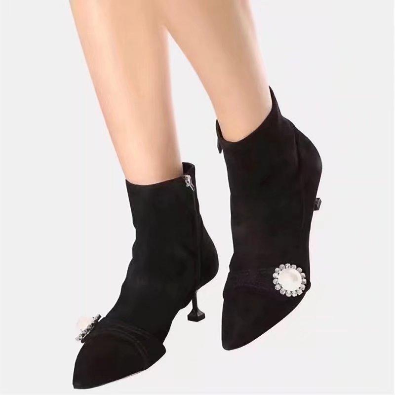 2018 Damenmode Stiefeletten Wildleder Dünne Ferse Punkt Toe Party Kleid Schuhe Frühling Neue Damen Marke Strass Kurze Stiefel Größe 35-40