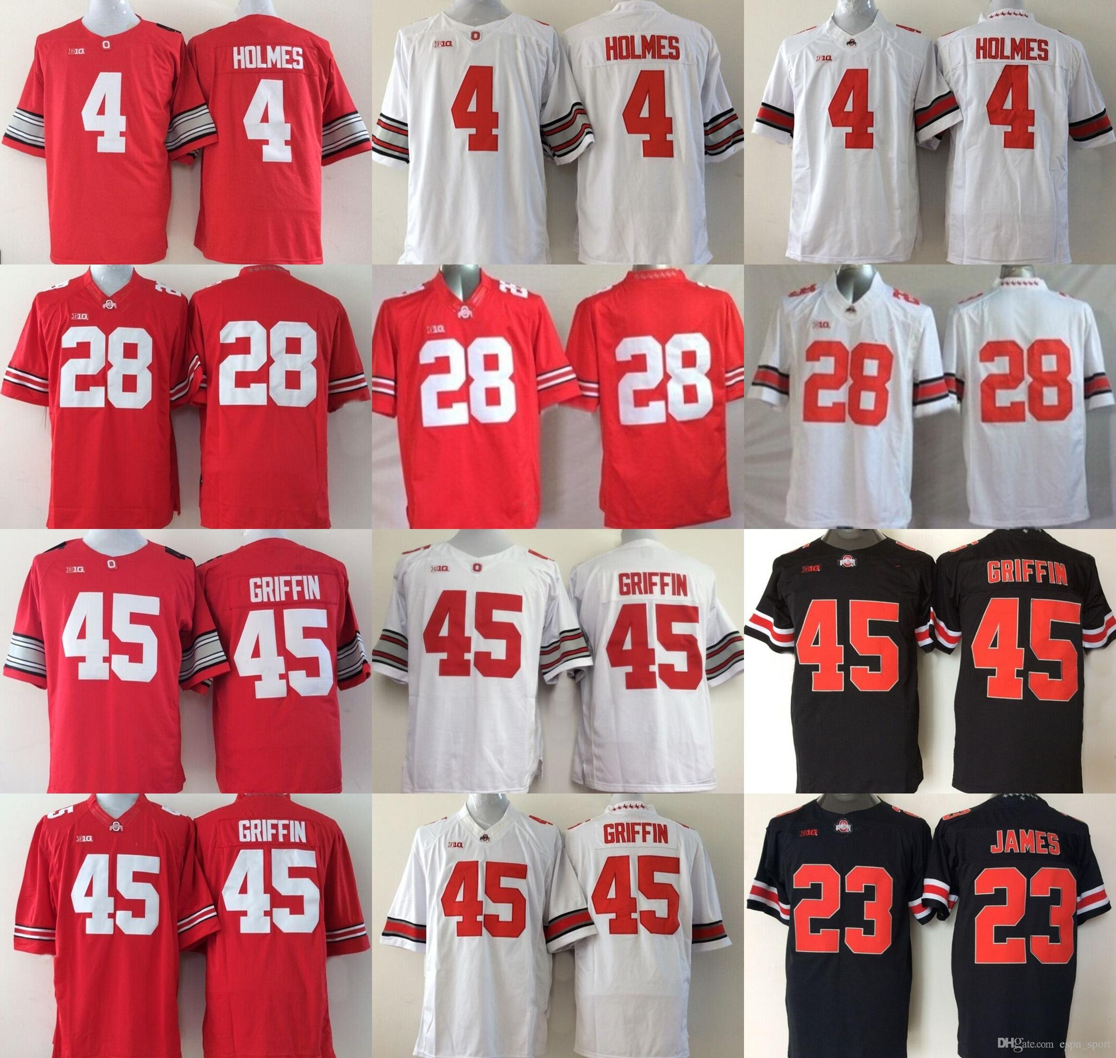 Wholesale Limited NCAA Ohio State Buckeyes Mens  4 Holmes 45 Archie Griffin  23 Lebron James  28 College Foodball Jerseys Hot Sale 45 Archie Griffin 4  Holmes ... 5340874e6