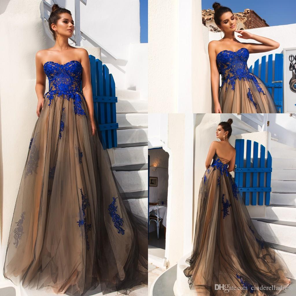 Elegant Long Soft Tulle A Line Evening Dresses 2018 Sweetheart Lace Applique Top Floor Length Prom Gowns Lace Up Back