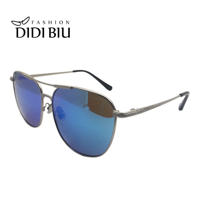 e83b4ee275 Compre Rectángulo Gafas De Sol Polarizadas Hombres Marca Moda Marco De  Metal Fino Gafas De Sol Para Conducir Gafas De Revestimiento Azul Oculos  5055 A ...