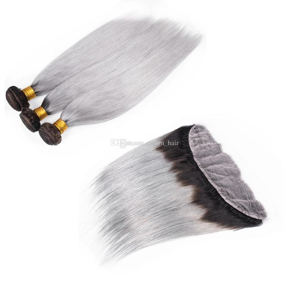 Tissage de cheveux humains vierges de couleur grise avec frontal # 1B Gris Ombre de cheveux soyeux droit 13x4 oreille to front frontal avec faisceaux de