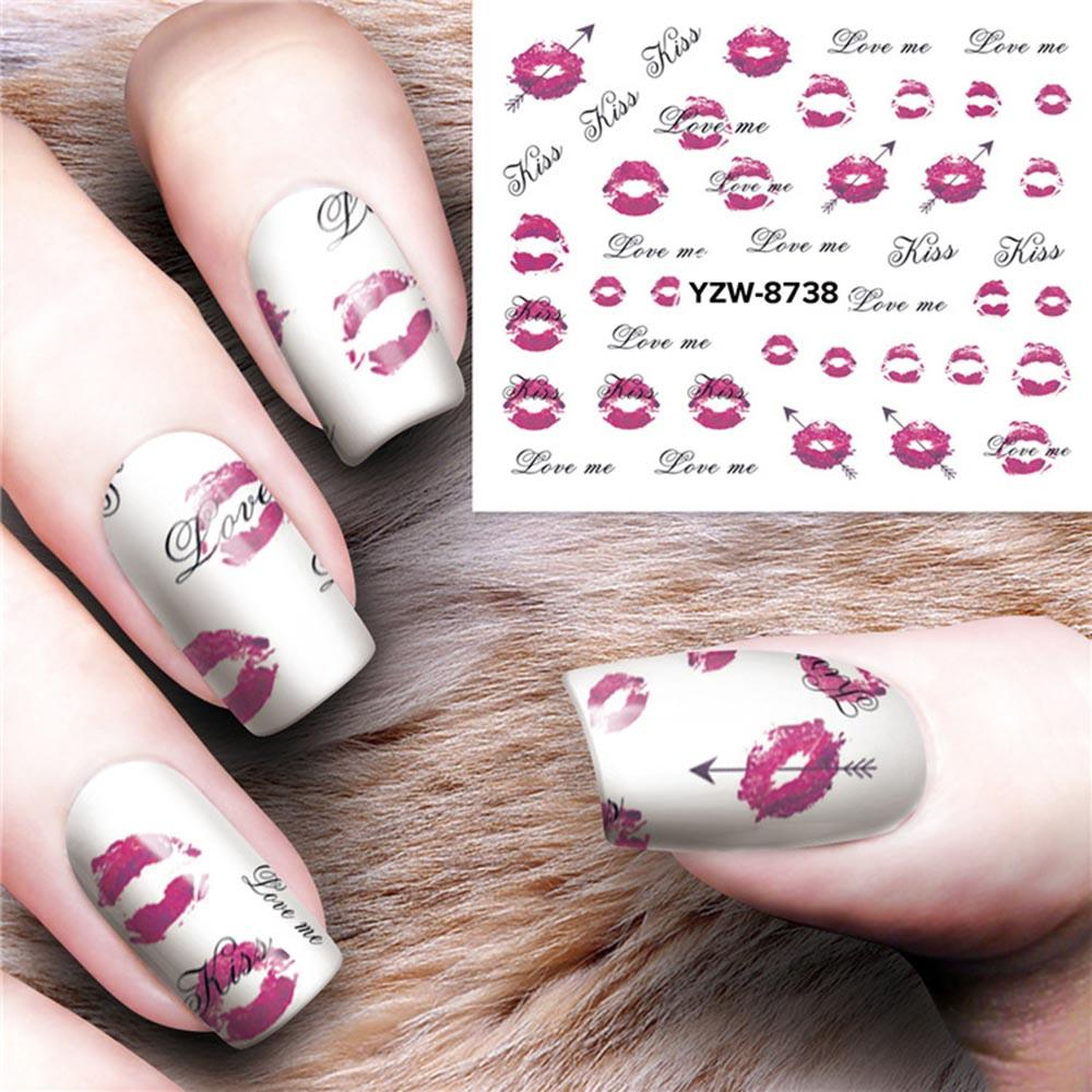 Nail Art Sticker Water Transfer Decal Dreamcatcher Lip Print Feather