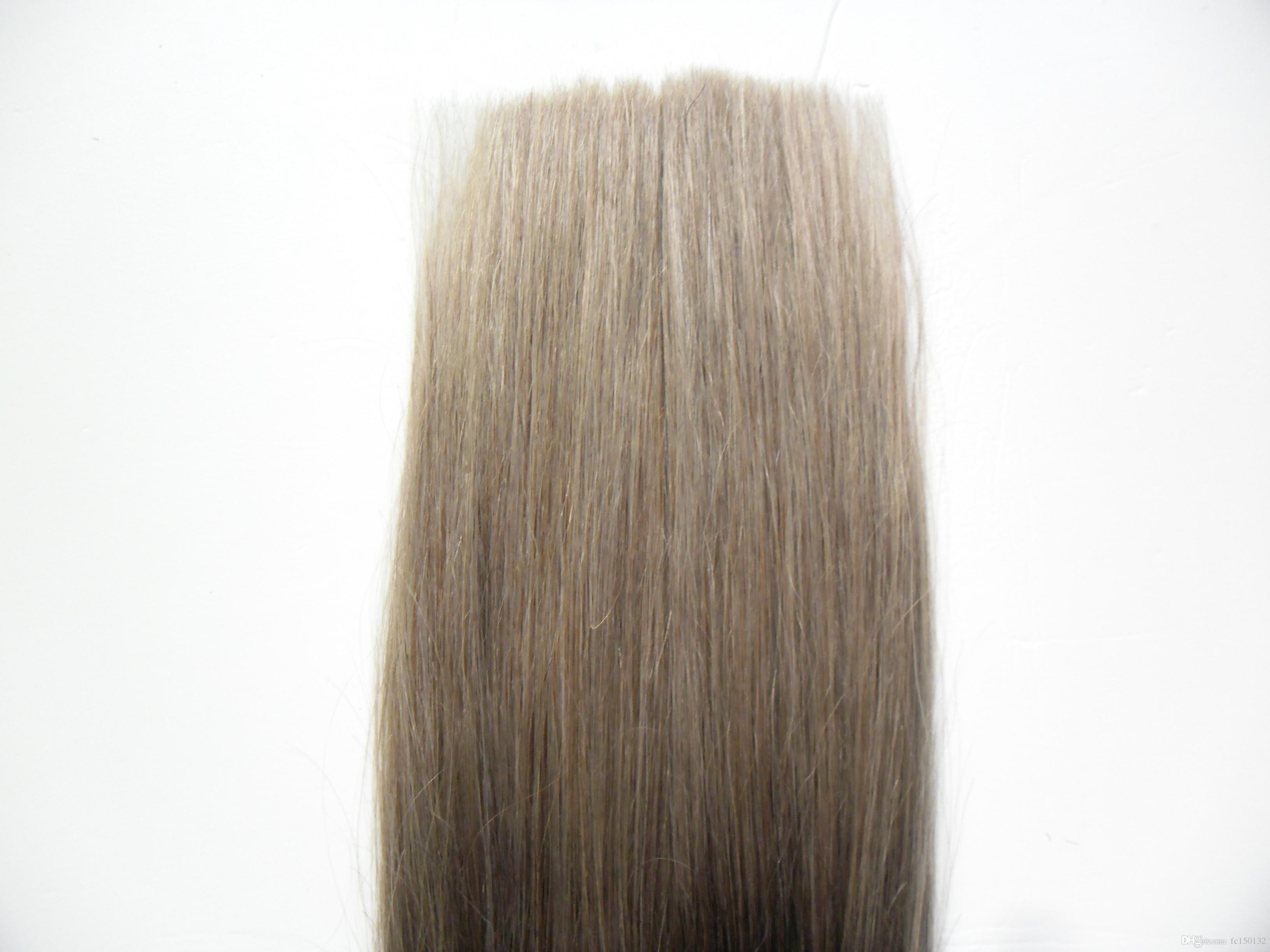 Gray hair tape extension Package Adhesive Seamless Hair T1B silver grey 100 Grams grey ombre human hair