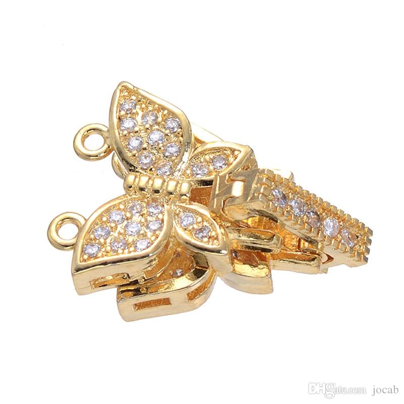 Wholesale Handmade DIY Jewelry Accessories Micro Pave CZ Stone Zircon Butterfly Hook Clasps For 2 Rows Necklace Bracelet Findings Charms Fit