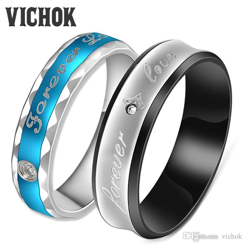 "Fashion Couples Rings 316L Stainless Steel For Lover Women Men Fine Jewelry Engagement Jewelry Vintage Ring Bands ""forever love "" VICHOK"