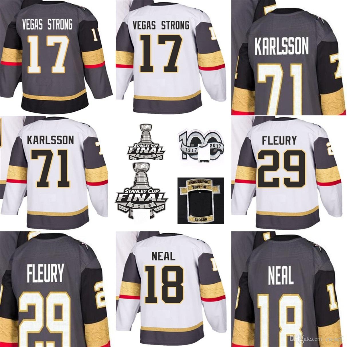 fcecb1640 2018 Stanley Cup Final Inaugural 100th Patch 29 Marc Andre Fleury James  Neal 71 Karlsson Vegas Strong Hockey Jerseys Vegas Golden Knights UK 2019  From Cn ...