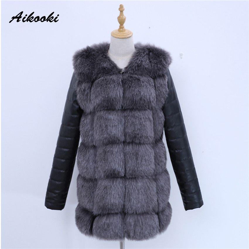 Aikooki Weibliche Parka Faux Fur Heißer Verkauf Formale Kunstpelz Kaninchen Parka Ankunft Nachahmung Bann PU Leder Frauen Jacke Mäntel