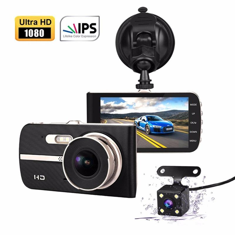 "1080P full HD car DVR 2Ch wide view angle car dashboard camcorder 4"" IPS screen dashcam video recorder black box camera"