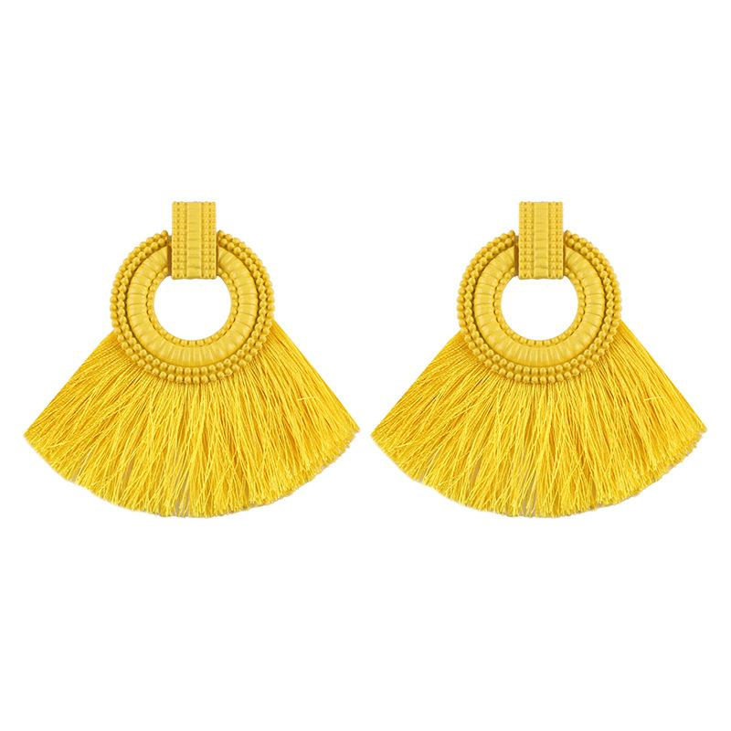 Fashion Women Tassel Earrings 2018 Brincos Boho Statement Fringe Earings Circle Vintage Fan Shape Dangle Earring Modern Jewelry