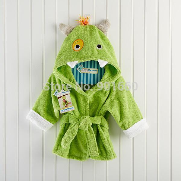 Green MonsterBaby Boy Girl Dressing Gown Splash Wrap Bath Hooded ...