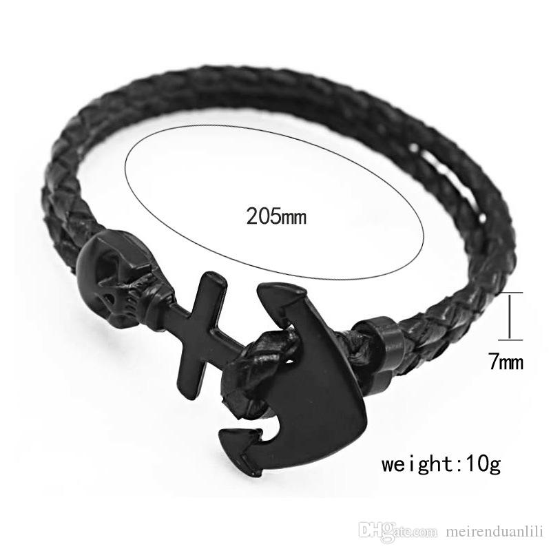 Handmade Skull Leather Bracelets&Bangles Naval Anchor Bracelets Punk Style 4 Types Cool Personality Bracelet For Men Women Party Gift Street