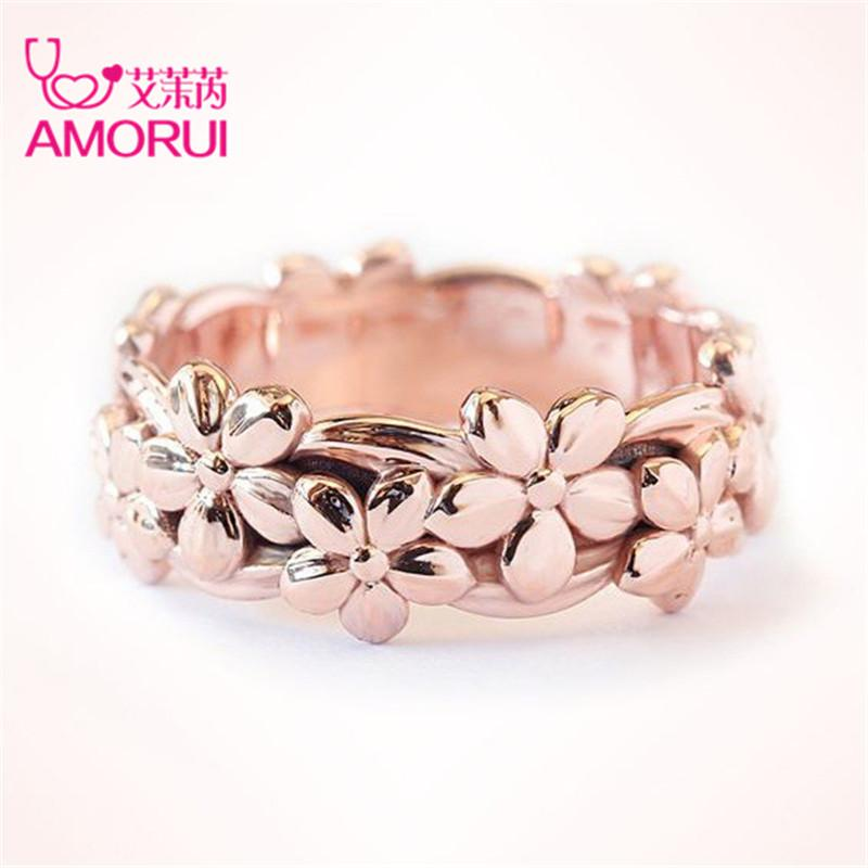 2019 Amorui Romantic Rose Gold Plum Blossom Flower Marriage