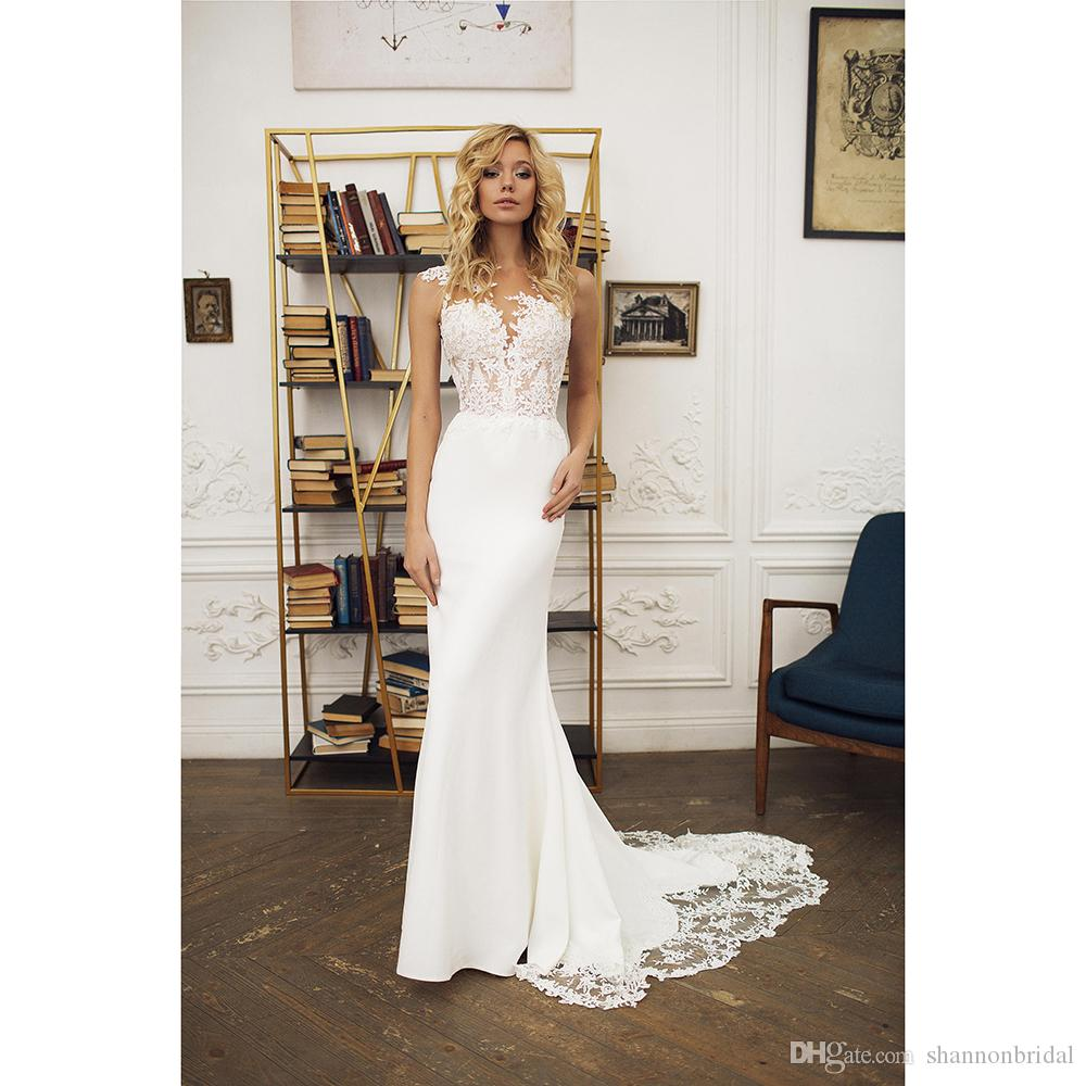 adab1348680 2018 New Arrival Sheath Scoop Sheer Straps Tulle Illusion Appliques Chiffon Bridal  Gowns Sexy Backless Court Train Wedding Dress Wedding Dress Gowns Wedding  ...