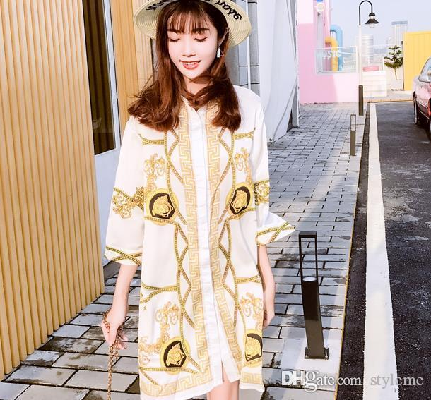 936aa954b32 Fashion Runway Brand Designer Silky Blouse Summer Women Gold Chain Print  Half Sleeve Long Collar Casual Loose Tops Shirts Dresses Gifts