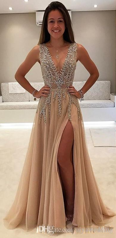 Vestidos de noche con cuentas delanteras con cuentas 2019 Cuello en V profundo Ver a través de los vestidos de fiesta formales Vestido largo árabe de cristal