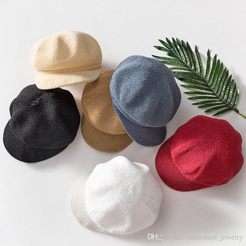 Compre Gorra Con Visera Ball Hat Transpirable Tejido Rojo Negro Beige Moda  Niñas Boinas Callejeras Para Otoño Invierno Gorras De Cricket Al Por Mayor  A ... 1869c5d4156