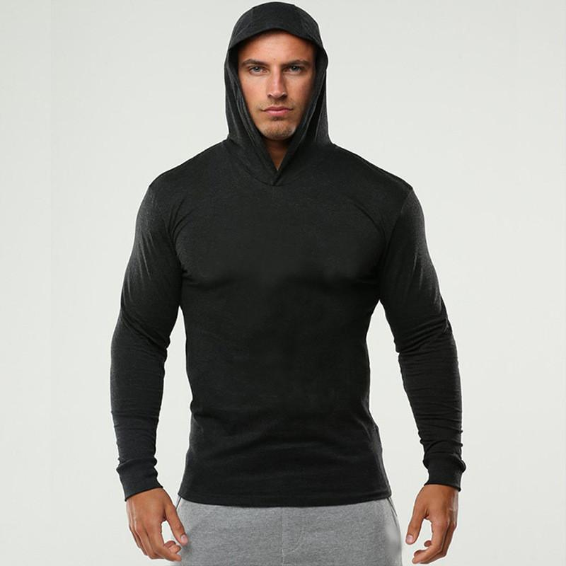 Long Sleeve Hooded Hoodies Thin Men Casual Sweatshirts Slim Fitness Clothing Hip Hop Hoodie Sweatshirt Bodybuilding Tops Coats