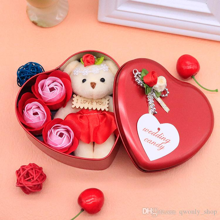 Soap Flower Bear Doll Heart Box For Romantic Valentine Day Gift Wedding Home Party Favor Decoration Arts And Crafts Multi Colour