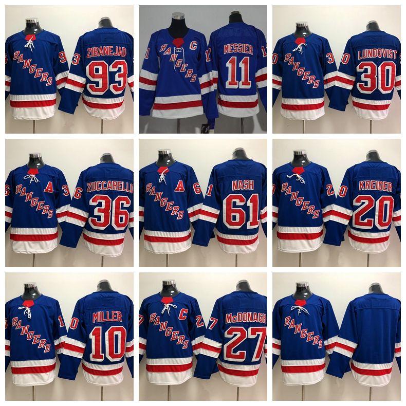 2019 New York Rangers Rick Nash Mats Zuccarello J.T. Miller Chris Kreider  Mark Messier Henrik Lundqvist Zibanejad McDonagh Hockey Jersey Stitched  From ... fc8c68715